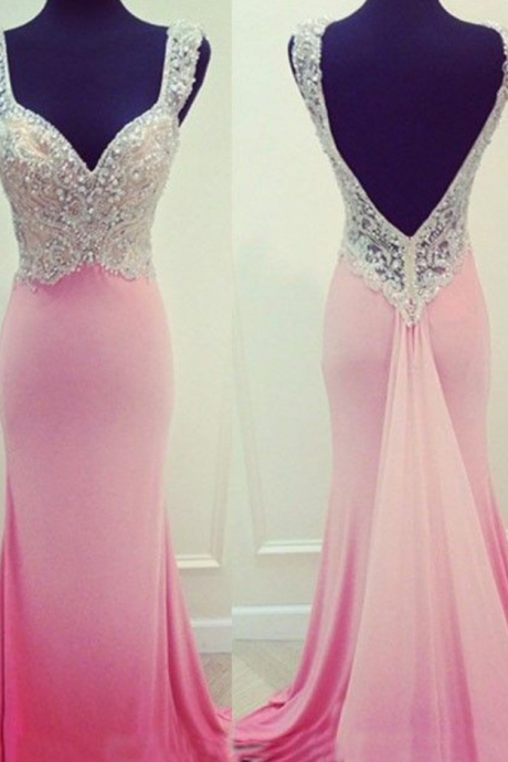 Mermaid Evening Dress,Formal Evening Dress,Long Evening Gown,Crystal Beaded Prom Dress