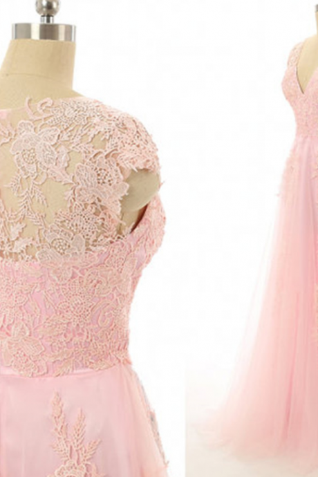 Elegant Tulle Prom Dress,Appliques Lace Prom Dresses,Long Evening Dress,Pink Prom Gown
