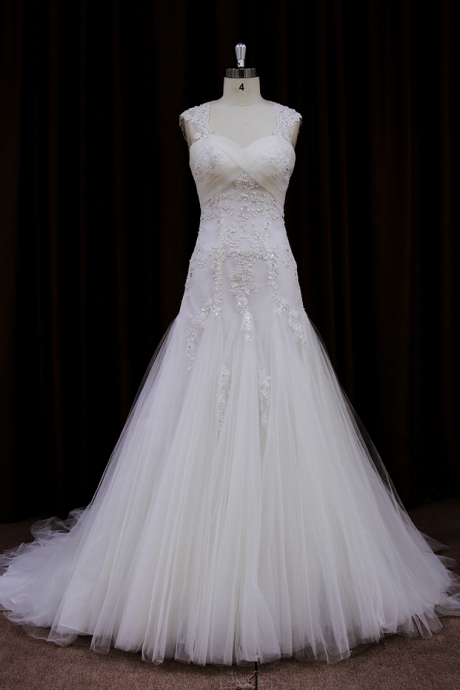 Sleeveless Lace Appliqués A-line Wedding Dress with Train and Lace Shoulder Straps