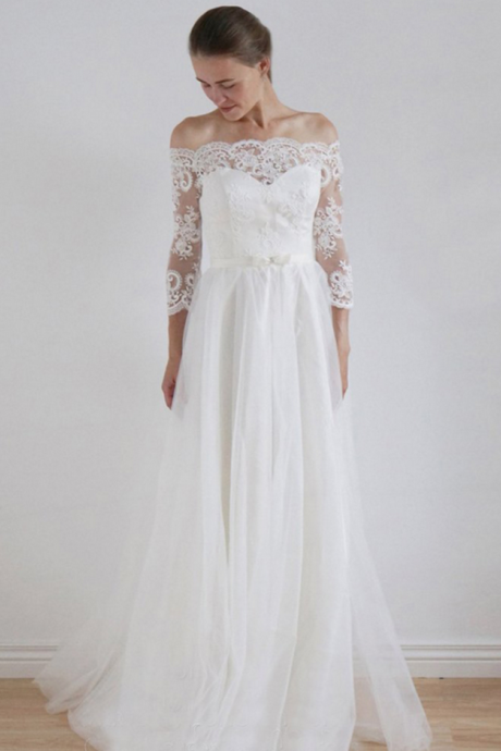Off-the-Shoulder Long Sleeved A-line Wedding Dress with Lace Appliqués