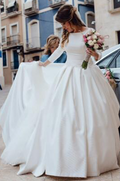 Long Sleeves Satin Ball Gown Wedding Dresses with Pockets