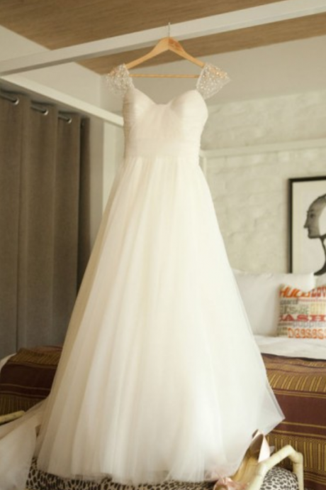 Simple A-line Long White Wedding Dress with Beads Cap Sleevs