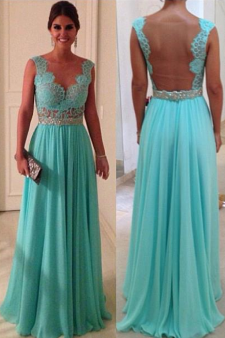 Floor Length Open Back Lace Prom Dress