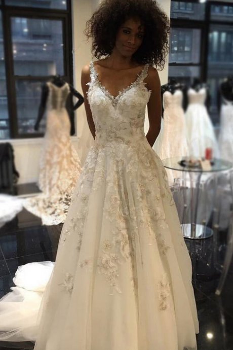 Women's Sexy V Neck Floral Lace Appliqued A-line Lace Wedding Dresses