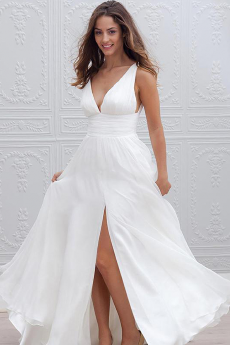 Plunging V Neck Ruched Chiffon A-line Wedding Dress with Side Slit