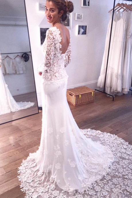 Vintage Backless Lace Mermaid Wedding Dresses Long Sleeves