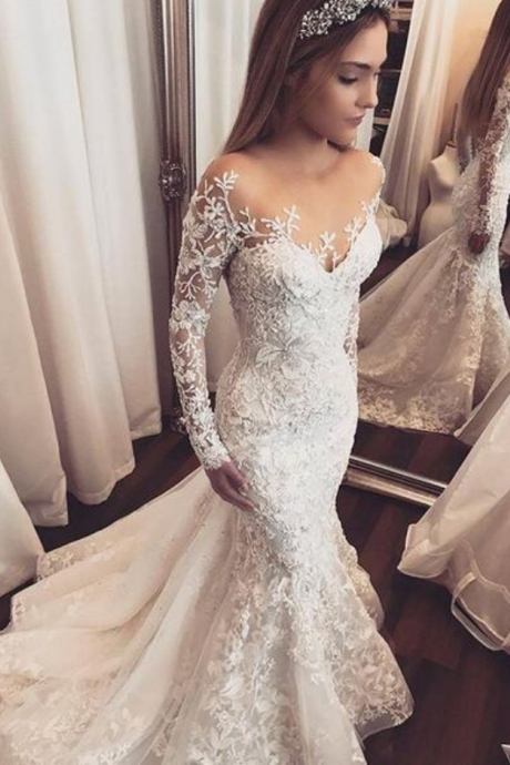 Mermaid Tulle Wedding Dresses Sheer Long Sleeve Lace Appliques Gorgeous Bridal Gowns