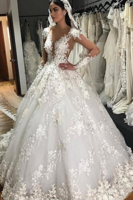 Unique Ball Gown Tulle Wedding Dresses Crew Neck Sheer Long Sleeve Handmade Flowers Lace Appliques