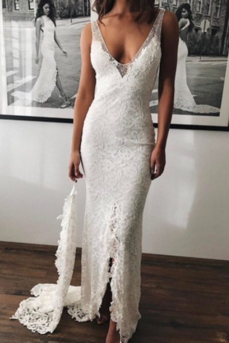 Slit Wedding Dress,Lace Bridal Dress,Mermaid Slit Wedding Gown