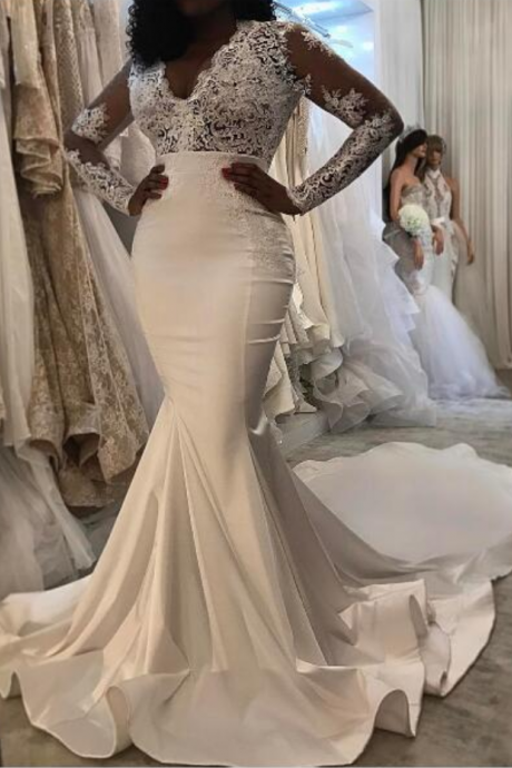 Mermaid Wedding Dresses White V-neck Lace Bodice Satin Wedding Dress Bridal Gown Vestidos Wedding Gowns