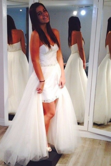 Charming Wedding Dress,White Tulle Wedding Dresses,Sexy Bridal Dress