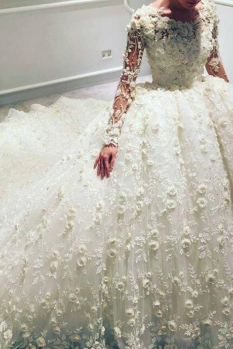 Luxury 3D Floral Appliqued Wedding Dresses With Long Sleeves Jewel Neckline Bridal Ball Gowns Court Train Tulle Beaded Wedding Dress