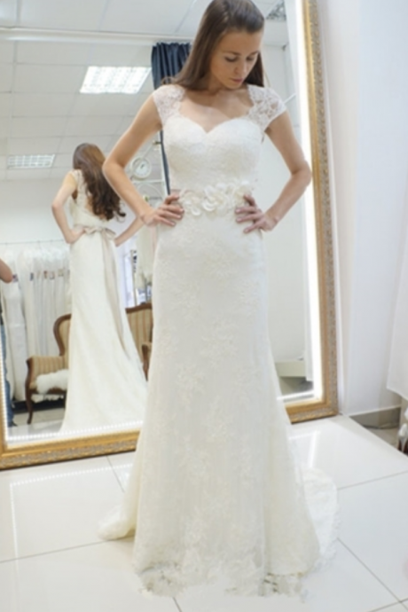 Sweetheart Lace Appliques Sashes Mermaid Wedding Dress