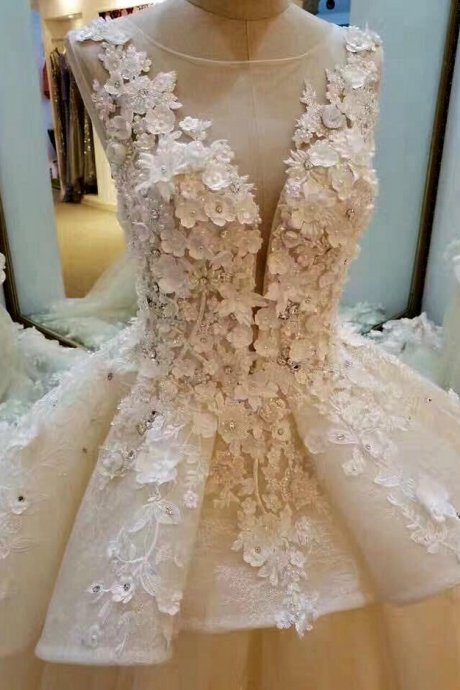 Cheap wedding dresses ,Cheap wedding dresses ,Lace Appliqued And Flowers Chapel Train Wedding Dresses