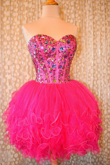Sweetheart Neckline Laced Up Short Crystal Beads Ruffle Pink Homecoming Dresses