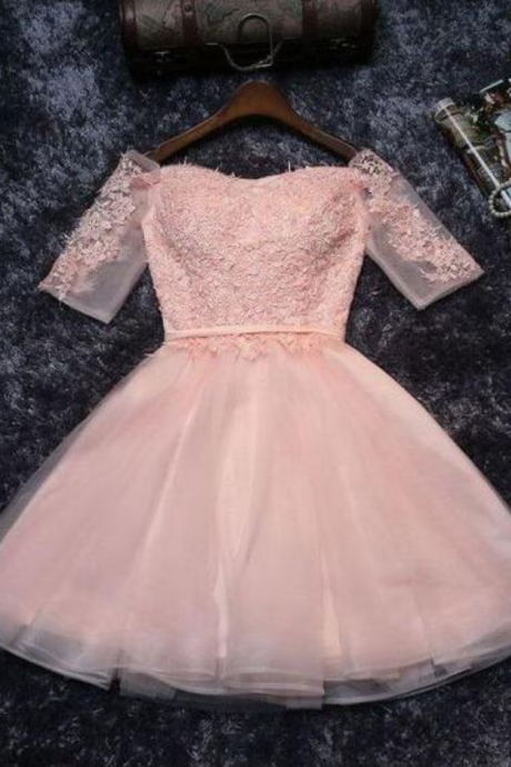 Pink Homecoming Dresses,Tulle Half Sleeves Prom Dress,Short Prom Dress,Mini Party Dresses,Off-shoulder Homecoming Dress