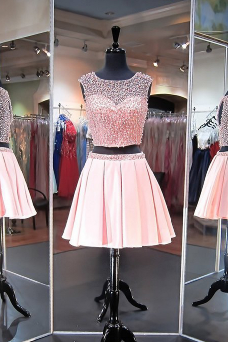 Pretty Pink Two Piece Pearl Beaded Homecoming Dresses Prom Dress Short