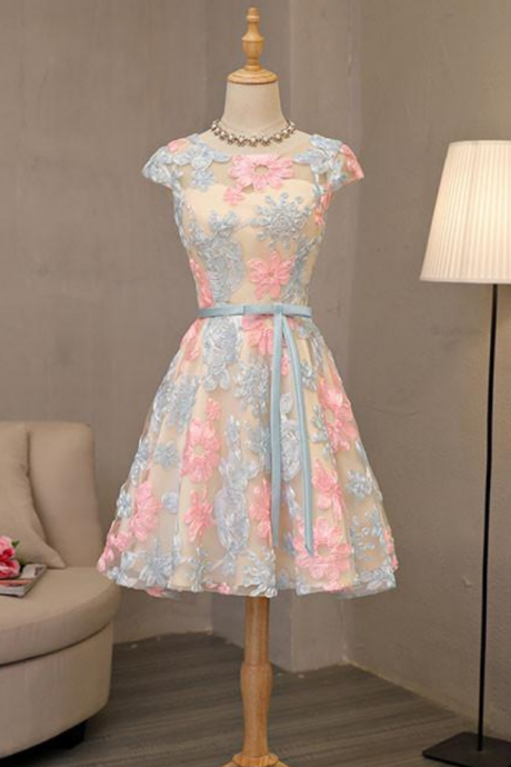 Lovely Homecoming Dresses,A-line Homecoming Dresses,Applique Homecoming Dresses