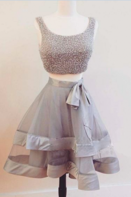 Cute gray 2 pieces short prom dress,A-line tulle beading short prom gowns