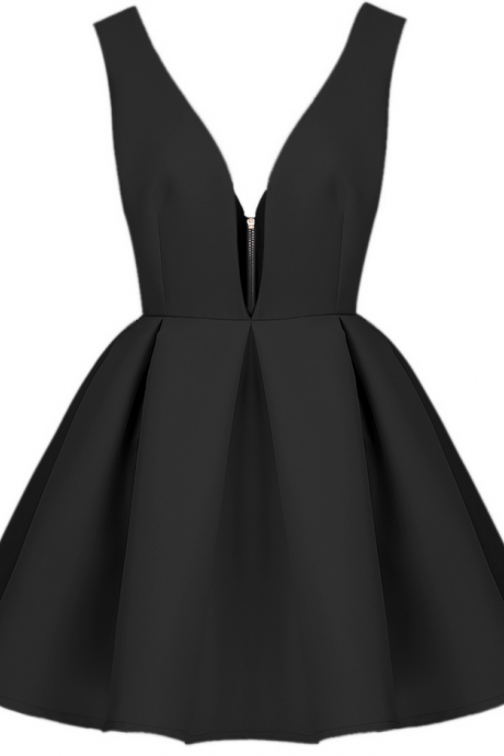 Deep V-neck Homecoming Dresses,A-line Homecoming Dresses,V-back Homecoming Dresses