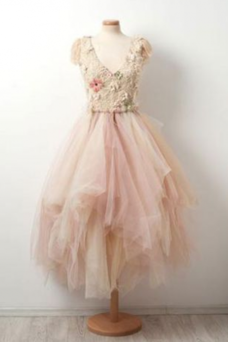 Short Zipper A-line Homecoming Dress,V-Neck Tulle Homecoming Dress