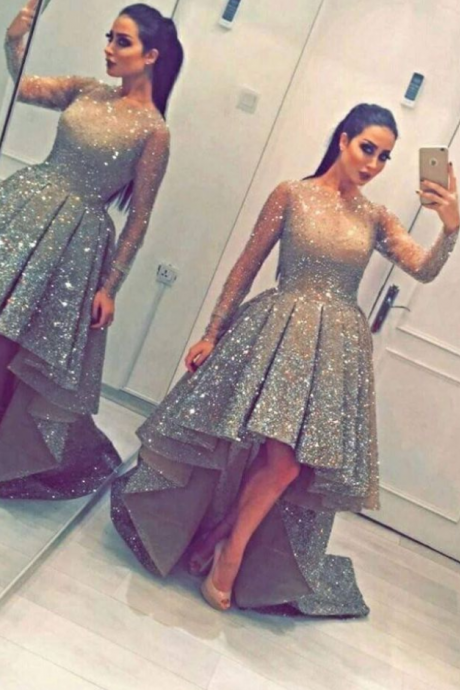 Homecoming Dress Asymmetrical Sequin A-line For Garden/Outdoor On Sale Dresses