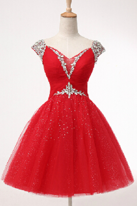 Lovely Short Ball Gown Sweetheart Prom Dress with Beadings, Ball Gown Prom Dresses