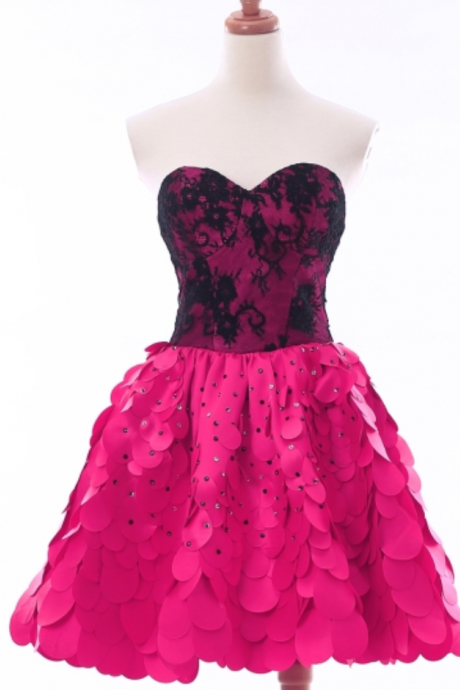 Fuchsia Sweetheart Lace Beaded Short Homecoming Dress
