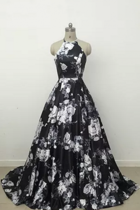 Custom Made Halter Neck Floral Printed Floor-Length Satin Gown, Prom Dress, Evening Dress