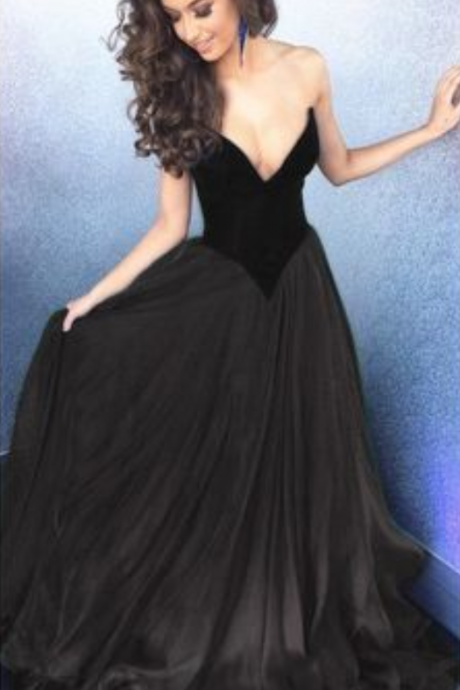 V-neck Black Stain Prom Dresses, Black Long Prom Dresses, A-line Prom Dress