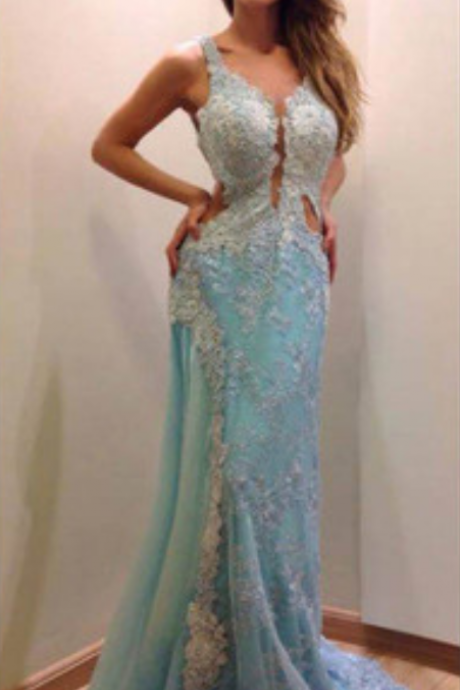 Gorgeous Blue Lace Prom Dresses, Sexy Backless Prom Dresses, Mermaid Prom Dresses, Newest Prom Dresses, Prom Dresses