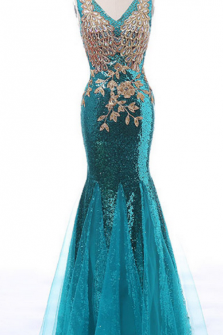 Blue Sleeveless V-Neck Sequined Mermaid Floor-Length Prom Dress, Evening Dress