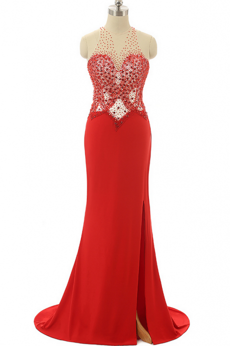 Red Prom Dresses,Beading Prom Dresses,Mermaid Evening Dresses ,Formal Party Gowns