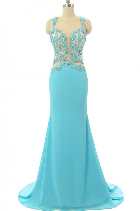Turquoise Party Dress,Mermaid Evening Dresses,Lace Prom Dresses ,Formal Party Gowns