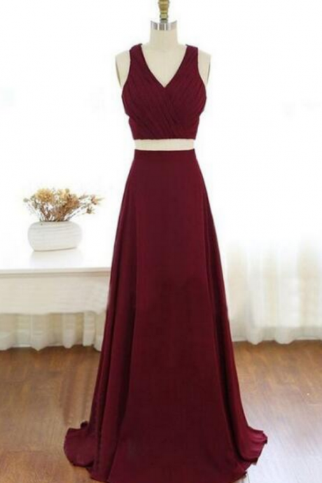Elegant Two Pieces Prom Dresses,A-line Prom Dresses,Burgundy Prom Dresses,Cut-out Prom Dresses,Long Evening Dresses,Party Dresses