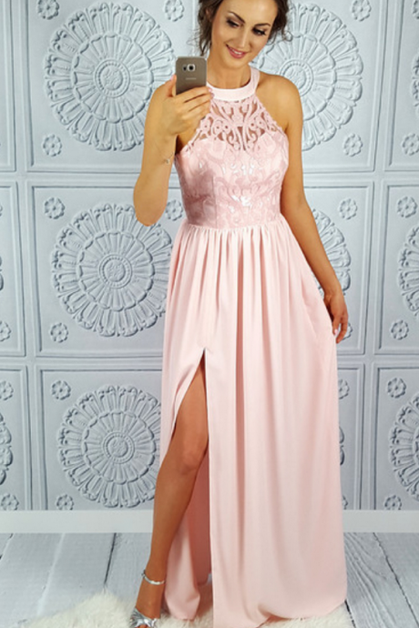 Chiffon Lace Prom Dress,Long Prom Dresses,Prom Dresses,Evening Dress