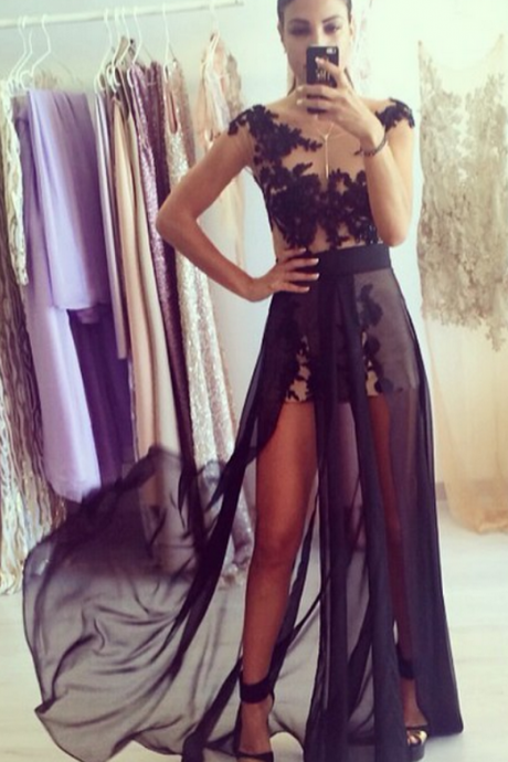 Black Lace Appliques Sheer Bodice Chiffon Prom Long Dresses Cap Sleeves