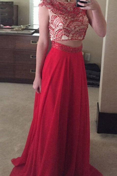 Prom Dresses,Long Prom Dresses,A Line Two Piece Bateau Cap Sleeves Long Red Prom Dress with Beading