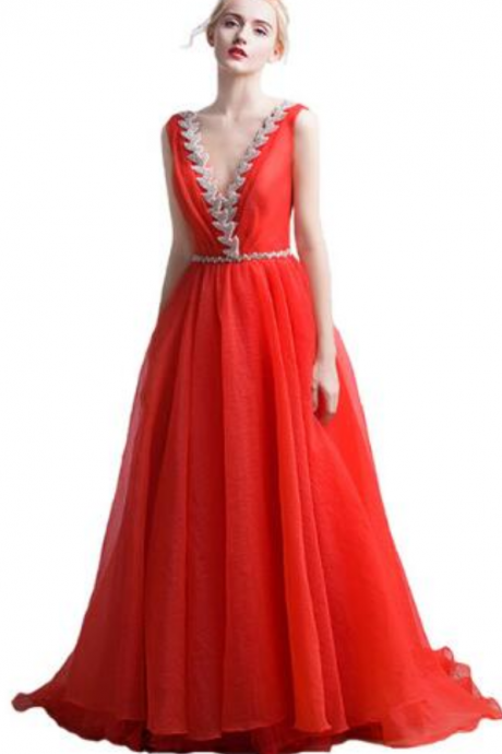 Evening dress New V-neckline long-haired dress Sexy sequins Elegant formal red crepe paper Women's party evening dress