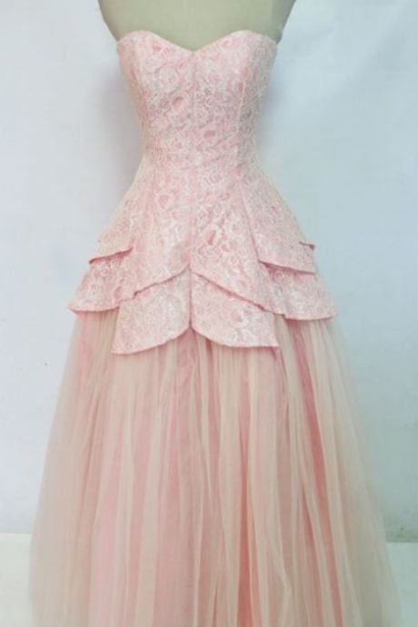 Custom Made Pink Lace Sweetheart Neckline Tulle Cascading Peplum Bridesmaid Dress