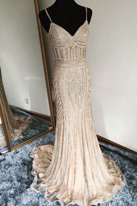Unique champagne mermaid long prom dress, evening dress