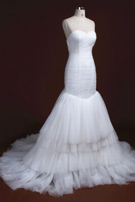 Strapless Sweetheart Ruched Mermaid Wedding Dress with Tiered Skirt and Long Train