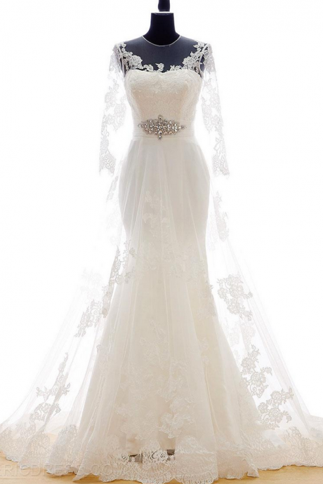 Sheer Illusion Lace Long Sleeved Mermaid Wedding Dress Featuring Lace-Up Back and Court Train