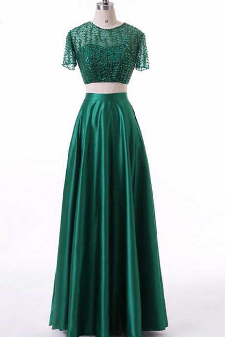 Elegant Custom Multi-color Green Short Evening Dresses New Autumn Zipper Back Beading 2 Pieces Crop Top Women Dress