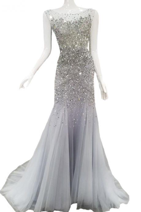 New High-end Mermaid Evening Dress Luxury Banquet Sexy Grey Crystal Beadning Fishtail Backless Prom Party Gown Custom