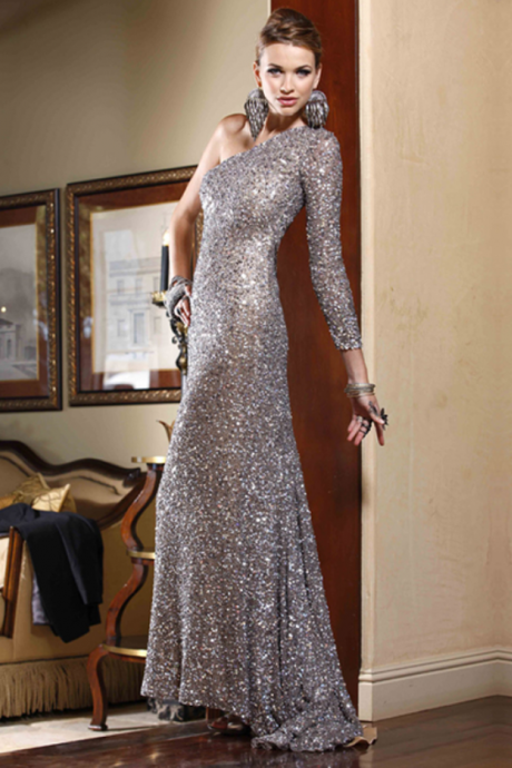 Charming silver formal dress.Homecoming dresses.Party dresses.Sequins prom dresses.