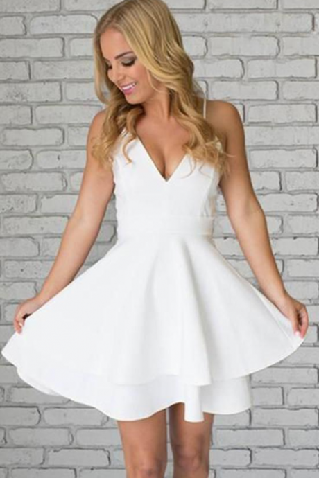 White Deep V Neck Short Prom Dress,Spaghetti Strap Hollow Back Homecoming Dress,Party Dress