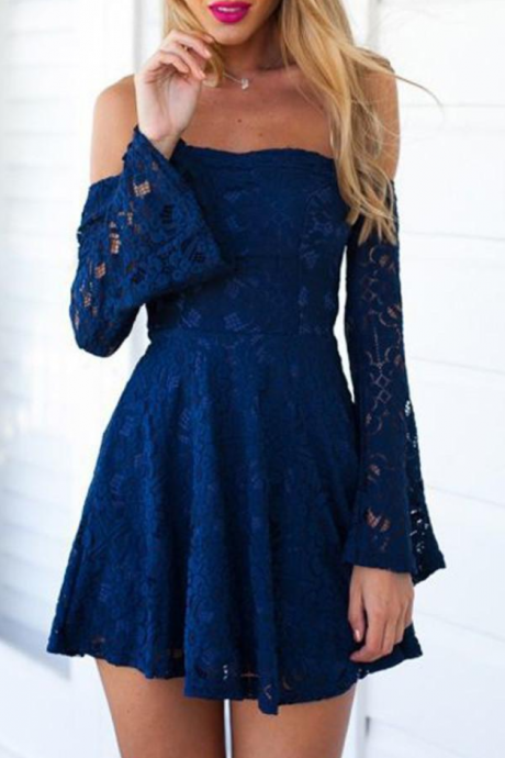 Blue Lace Homecoming Dress,Off Shoulder Mini Prom Dress Short for Summer