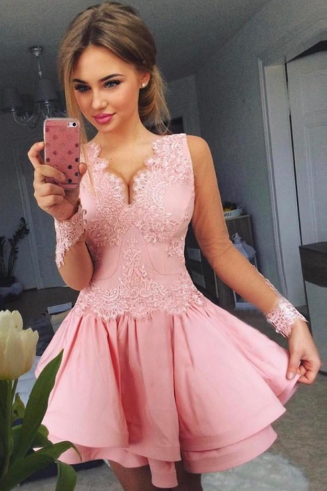 Pink Long Sheer Sleeve Homecoming Dress,V Neck Appliques Short Prom Dress