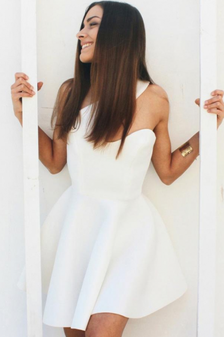 White One Shoulder Sleeveless Homecoming Dress,Simple Short Prom Dress
